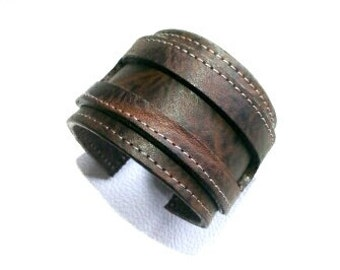 Bracelet genuine leather, quality leather, size 7 1/2 18cm cuff.