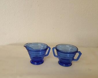 Antique Cobalt Blue Creamer & Sugar set, Cobalt creamer, cobalt sugar bowl, Cobal blue set, Blue cream sugar, Antique sugar, ANT creamer