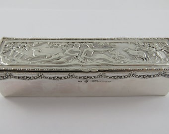 Sterling Silver Rectangular English Trinket Box