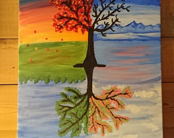 "Original Handmade Acrylic Four Seasons Tree Painting 16x20"" Wall Art on Stretched Canvas"