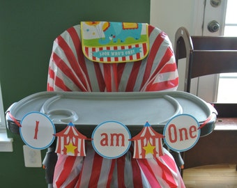 Circus I am One High Chair Banner | Instant Download Printable