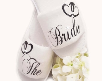 Personalised Bride Wedding Spa Slippers Sparkle Black & Diamante All Wedding Guests All Sizes