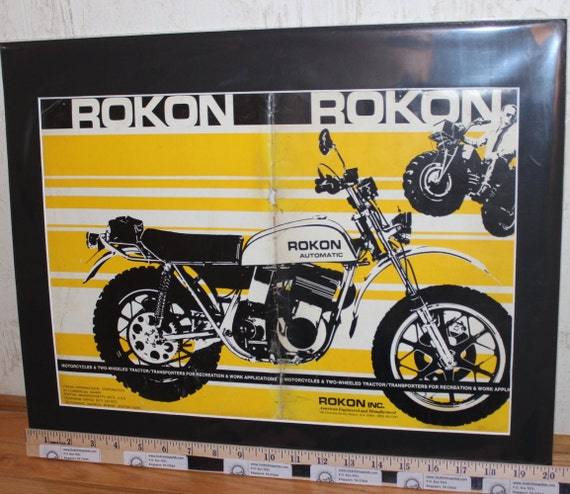 1973 Rokon Automatic 16'' x 20'' Matted Vintage Motorcycle Ad Art Poster 73rokonm