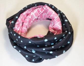 Grey and pink fleece infinity scarf