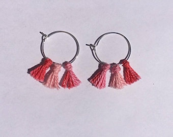 Pink pompom Earings