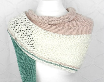 knitted shawl scarf cotton MIX powdered pastel