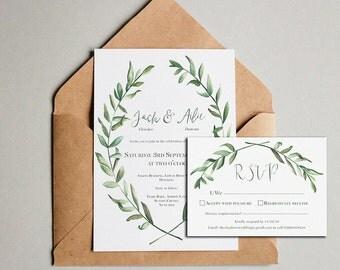 Olive leaf rustic Wedding Invitations