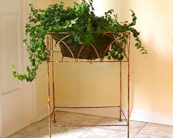 vintage plant stand rusty ornate plant stand table  HOUSTON Local pick up only !!!