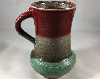 Ceramic mug in red and green,  wheel thrown, handmade.