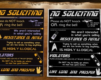 Star Trek No Soliciting Sign - 2 Options Available