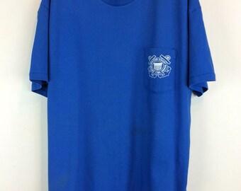 "Vintage T-shirts Cobalt Blue Coast Guard logo Front Breast Pocket, ""STAFF"" on back SZ XL vintage men's clothing coast guard vintage cotton"