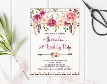 Bohemian 21st Birthday Invitation. ALL AGES. Boho Floral Invite. Burgundy Watercolor Flowers. Dreamcatcher. High Tea Garden Party. FLO13