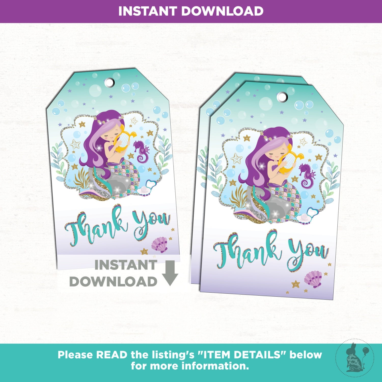 Mermaid Birthday Favor Tags Mermaid Baby Shower Decor Girl