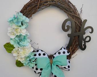 Farmhouse Wreath, Shabby Chic Hydrangea Wreath, Initial Wreath, Summer Hydrangea Wreath, Teal Hydrangea Wreath, Monogram Hydrangea Wreath