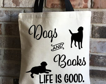 Dog Lover Gift - Book Lover Gift - Dogs Books Large Tote Bag - Labrador Retriever - Pet Lover Gift - New Puppy Gift - Large Canvas Tote Bag