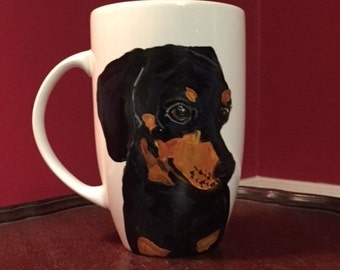 Large Dachshund Mug, hand painted glassware by Ana Peralta
