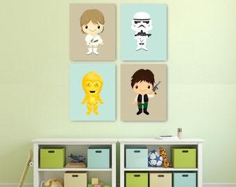 Star Wars Nursery Decor, Boy Nursery Star Wars Wall Art PRINTS or CANVAS, Star Wars Boy Decor, Blue Star Wars bedroom decor ATAT R2D2