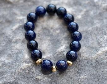 Stardust | Blue Goldstone Beaded Stretch Bracelet