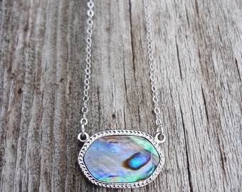 Feather | Silver Abalone Necklace