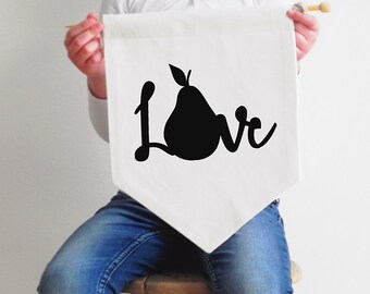 Fabric Wall Hanging - Pear Love - Wall Hanging - Black or Gold