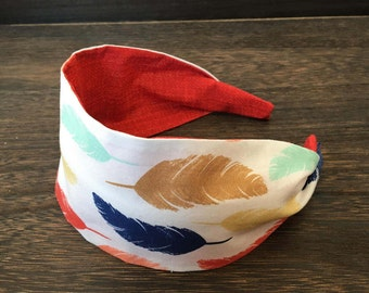 Feather Headband Adult Headband Wide Cotton Headband Turban Style Hairband Spring Clothing Summer Fashion Toddler Headband Teen Headband