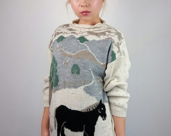 Vintage 90's 80's Knitted High-neck Jumper/Pullover Novelty Horse Pattern / S-M