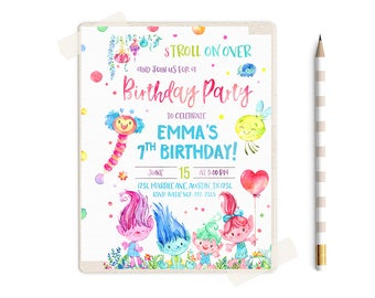 Trolls Birthday Invitation, Trolls Birthday Party, Trolls Invitation, Trolls Birthday Invite, Trolls Party, Trolls theme, Trolls Invitations