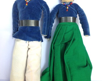 Vintage Navajo Dolls / Collectible Native American Dolls / A Blue Shirt Couple from the 1940's