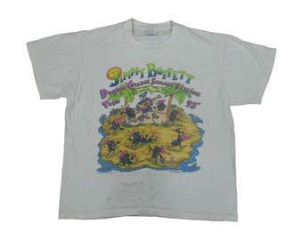 Vintage 1990s 1995 Jimmy Buffet College Tour Tee Vintage Music Concert Jimmy Buffet Tshirt - XL