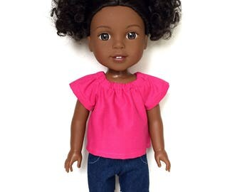Peasant Top, Hot Pink, 14.5 inch, Fits dolls such as AG Wellie Wishers Doll Clothes, Free Mini Skirt with the Purchase of 3 WW Peasant Tops