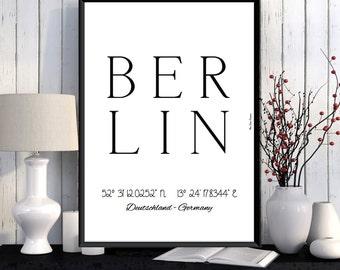 Berlin Poster, Berlin print, Wall Art decor, Berlin city print, City poster, Berlin printable, Typography print