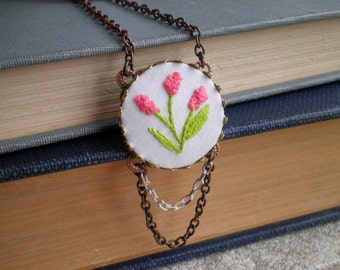 Embroidered Necklace - Pink Flowers Long Chain Necklace - Bohemian Floral Embroidery Necklace - Boho Fiber Art Hyacinth Flower Jewelry Gift