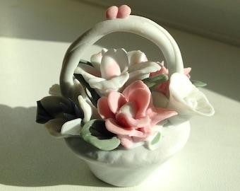 Ceramic Basket of Flowers