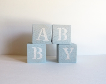 Blue Nursery Blocks, Baby Blocks, Love Blocks, Nursery Decor, Rustic Nursery Decor, Reversible Blocks, Baby Shower Gift, Baby Gift
