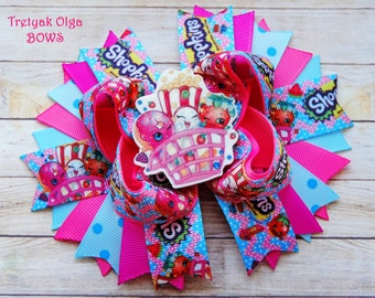 Shopkins Hair Bow Shopkins Boutique Stacked Hair Bow Large Shopkins Bow Shopkins Birthday Bow Girls Shopkins Accessories Shopkins Party