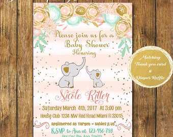 Digital file or Printed- Girl Elephant Baby Shower Invitation-Floral Elephant Invite-Printable Pink Elephant Baby Shower Invitation-Burlap-