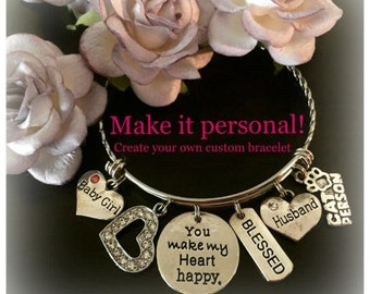 Custom Bracelet, Create Your Bracelet, Create Your Own, Personalized Charm Bracelet, Charm Bracelets, Bracelets For Her