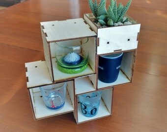 Small Modular Cube Organization Blocks Laser Cut 3x3x3