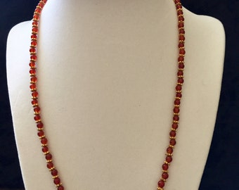 """Carnelian and gold Necklace or Bracelet 20"""""""