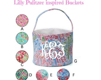 Boys/Girls Lilly Pulitzer Inspired Buckets/Baskets - Spring, Baby Shower with Name