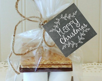 S'mores Kit, 12 S'mores Favor Kits, MERRY Christmas Chalkboard S'mores Kit, S'mores Favors, Christmas Favors, Holiday S'mores Party Favor