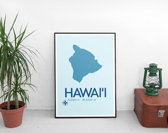 Hawai'i Poster Print - Hawai'i Hawaii Art Print, Minimalist Travel Poster, Hawaii Poster, Map Of Hawai'i, Art Print, Map Poster, Wall Art