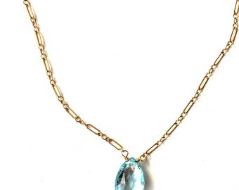 Blue Topaz Necklace--Topaz Necklace--Blue Topaz Jewelry--Swiss Blue Topaz Necklace