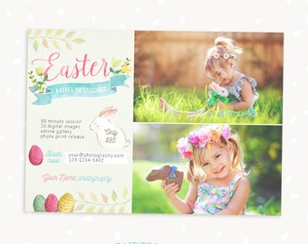 Easter Mini Session Template, Easter Mini Sessions, Marketing Board, Photoshop Template, Photography Marketing Set, Kit, Spring, Watercolor