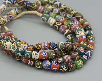 58 - Sandcast African Krobo 10-12mm  Beads Recycled Glass - Boho Bohemian Jewelry Supply
