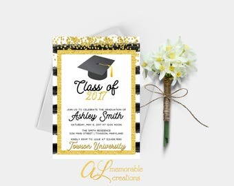 Graduation Invitation, Graduation Party Invitation, Graduation Announcement, High School Graduation, College Graduation, Black Gold, Digital