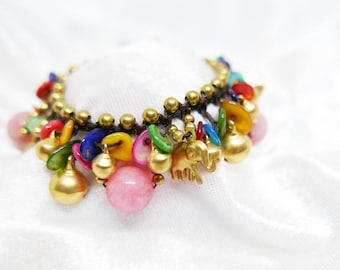 Pink Pearl Bead Elephant Butterfly Shell Charm Bracelet  I Handmade Colourful Jewelry Accessories