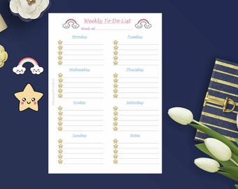 Weekly To-Do (Rainbow/Stars | ) A5 | List | Planner | Insert | Kawaii | 12 pieces | Cute