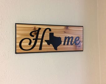 carved wooden sign Texis is home, Texas wall art, Texas wall decor