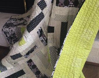 Lime Brick Road lap quilt
